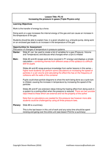 GCSE Science / Physics - Increasing the pressure of  a gas (PowerPoint and Lesson Plan)