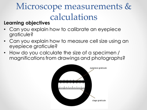 AQA AS & A-level Biology (2016 specification). Section 2 Topic 3: Cells. 3 Microscope measurements