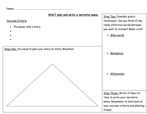 Narrative poetry planning frame and success rubric by xkatiecfc ...