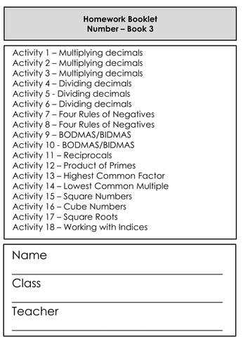 Differentiated Homework / Worksheet Booklet - Mathemaitcs - Number - KS3 Exceeding / Grade 3 GCSE