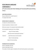 Eduqas GCSE English Language Component 2 Practice Paper
