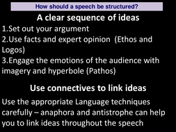 a focus on structuring a speech and revising language techniques effective in a  speech