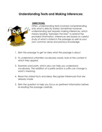 Understanding Texts And Making Inferences Worksheet By Linni0011