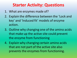 Factors affecting enzyme action AQA AS 3.1.4.2