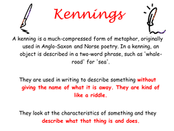 ks2 ks3 poetry history of english kennings creative writing