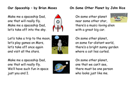 Poetry planning based around space and the moon landing for year 2 literacy