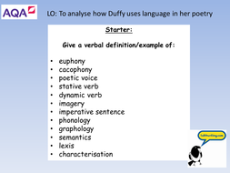 Comparing Duffy's Poems- AQA AS/A Level Language and Literature