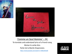 Comme Un seul Homme - M - Working on a song/ être / freedom of expression / Charlie Hebdo