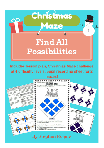 Christmas Maths - \'Find all possibilities\' Maze , differentiated KS1 ...