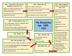 The Elizabethan Age 1558-1603 WJEC GCSE History Exam technique mats