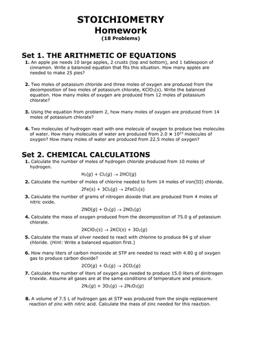 Stoichiometry, Chemical Calculations HOMEWORK w/ ANSWERS, MCQ Exam ...