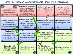 GCSE PE snakes and ladders revision board games