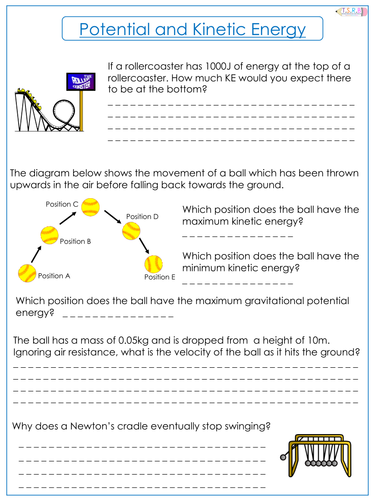 Potential and Kinetic Energy Worksheet by TheScienceResourceBank ...
