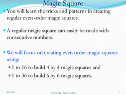 Step by step approach to creating magic square