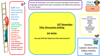 SPAG lesson on identifying and analysing Persuasive Language in newspapers