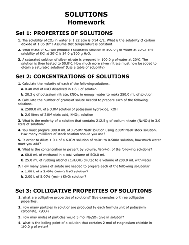 Solutions Solubility Concentrations Colligative Properties Entire