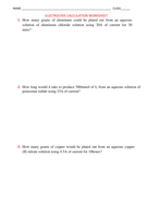 ELECTROLYSIS CALCULATION WORKSHEET WITH ANSWERS