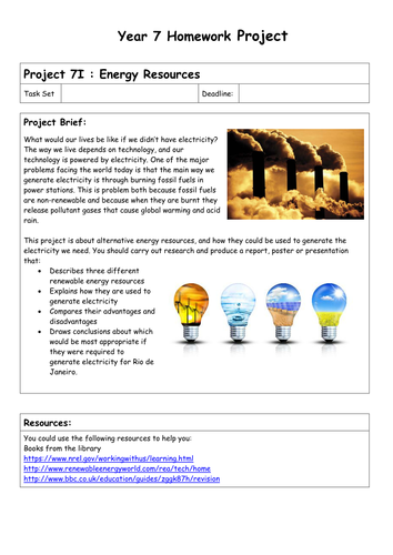 Physics Homework Projects - Year 7