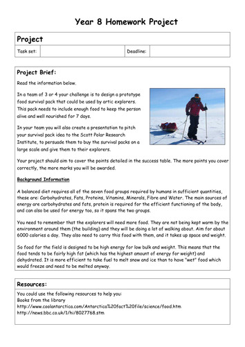 Biology Homework Projects - Year 8 and 9