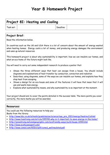 Physics Homework Projects - Year 8 and 9