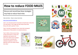 COVER/ INTERVIEW LESSON -Strategies to reduce food miles