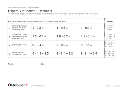 Skill Builders: Expert - SUBTRACTION of Decimals by TESiboard ...