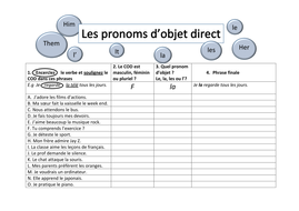 Direct object pronouns Worksheet by GaelleLH - Teaching Resources - Tes