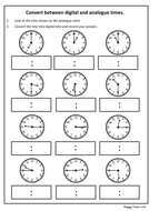 Convert analogue to digital time worksheet (KS2 Maths) by