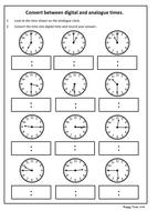 convert analogue to digital time worksheet ks2 maths by hoppytimes teaching resources. Black Bedroom Furniture Sets. Home Design Ideas