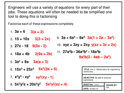 Maths for Engineers - Factorising, Substitution, Indices and Logarithms