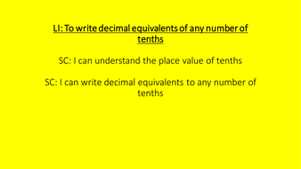 Year 4 To read and write tenths as decimals and fractions