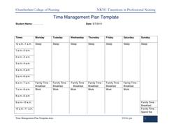 NR 351 Week 1 AssignmentTime Management Plan Template By
