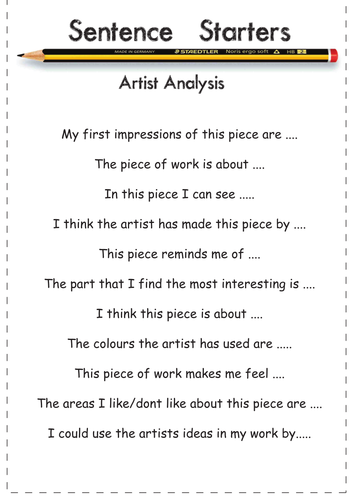 Art Vocab Bank and Sentence Starter help sheets