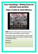 AQA Psychology (New Spec) Essay writing frame packs (PAPER 1)