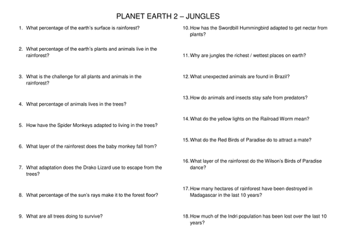 Planet Earth 2 Jungles Tropical Rainforest Worksheet by – Rainforest Layers Worksheet