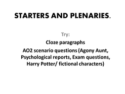 Psychology / NQT / PGCE Starters and plenary activities
