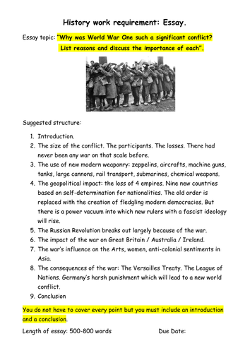 why was world war one such a significant event essay task by why was world war one such a significant event essay task by gilberto teaching resources tes
