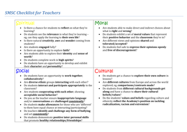 SMSC Checklist Audit for teachers and middle leaders