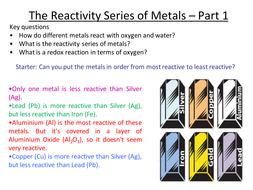 Aqa 2017 reactivity series part 1 by runchick2016 teaching aqa 2017 reactivity series part 1 urtaz Choice Image