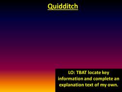 Year 6 reading preparation - Quidditch