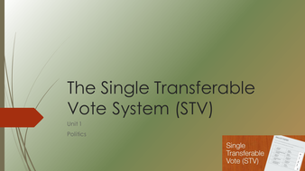 Three Voting Systems - AMS, STV and Party List