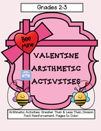 Valentine Division Practice & Greater Than Less Than Reinforcement ( Grades 2-3 )