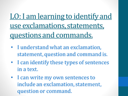 SPAG - EXCLAMATIONS, STATEMENTS AND COMMANDS