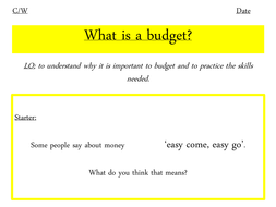 Budgeting for year 7 PSHEE