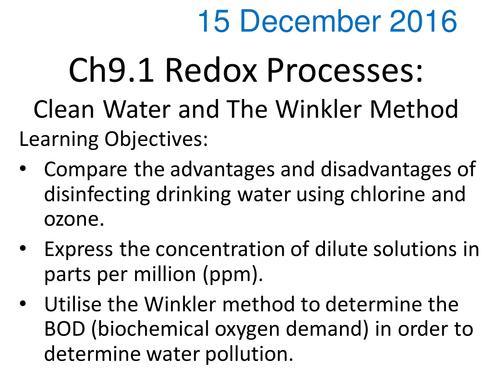 Winkler method titration for dissolved oxygen in water for IB – Parts Per Million Worksheet