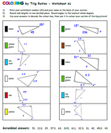 trigonometry coloring activity answer key find each trig ratio