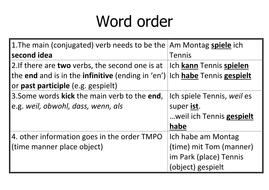 German word order rules