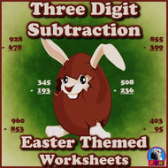 Three Digit Subtraction Worksheets - Easter Themed Worksheets- Vertical