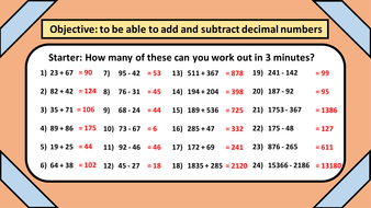 Decimal Addition and Subtraction Lesson Plan