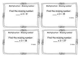 Times Tables Multiplication Task Cards X3 Missing Number